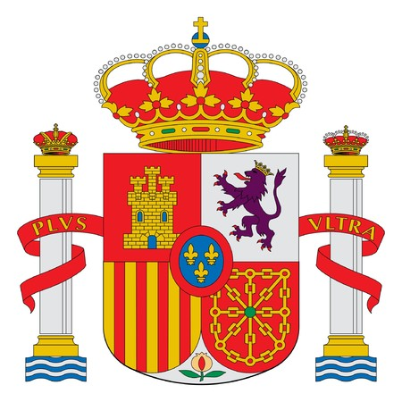 Spain or Spanish coat of arms isolated on white background.