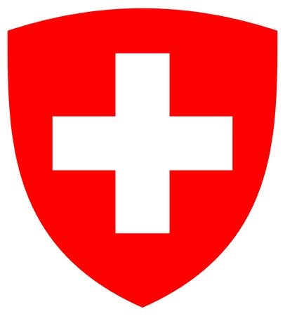 swiss: Switzerland coat of arms, seal or national emblem, isolated on white background.