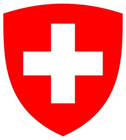 Switzerland coat of arms, seal or national emblem, isolated on white background.