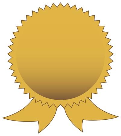 certification: Sello de oro en blanco aislado en fondo blanco con espacio de copia.