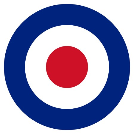 RAF roundel or mod target sign, isolated on white background.