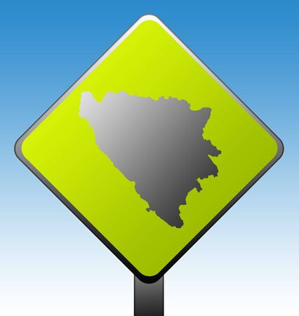 Black silhouetted map of Bosnia and Herzegovina on green diamond shaped road sign with gradient blue sky background. photo