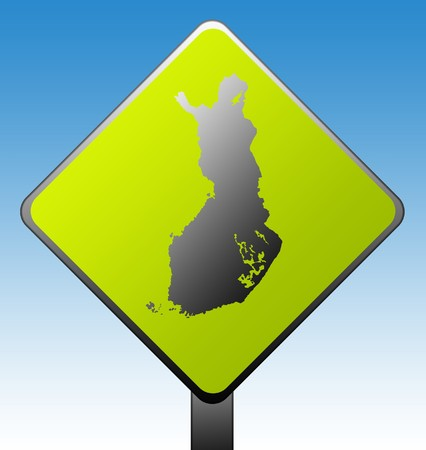 Black silhouetted map of Finland on green diamond shaped road sign with gradient blue sky background. photo