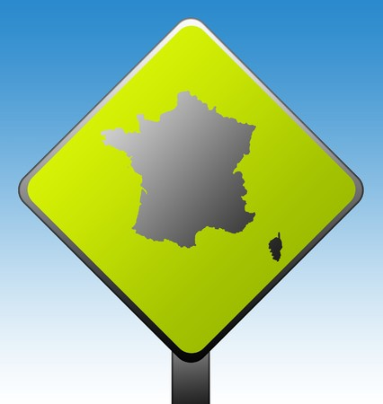 Black silhouetted map of France on green diamond shaped road sign with gradient blue sky background. photo