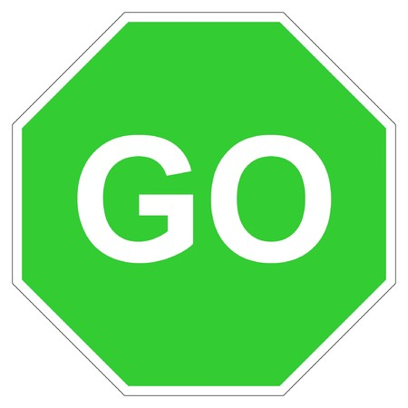 Hexagonal green go sign isolated on white background. photo