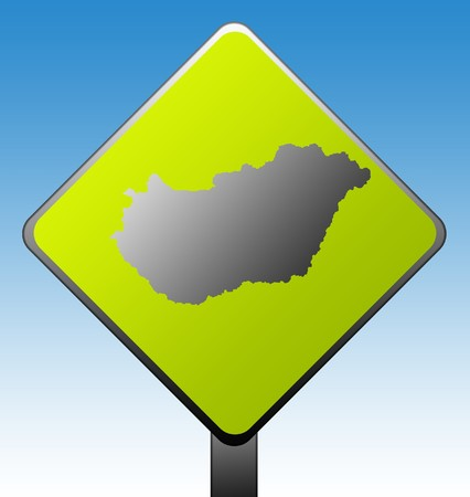 Black silhouetted map of Hungary on green diamond shaped road sign with gradient blue sky background. Stock Photo - 7915913