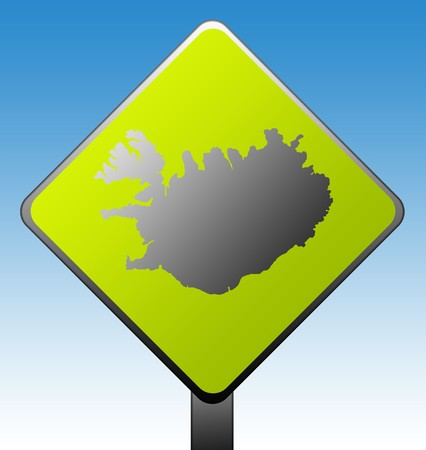 Black silhouetted map of Iceland on green diamond shaped road sign with gradient blue sky background. photo