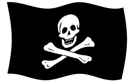 Illustration of jolly roger or skull and cross bones pirate flag. illustration