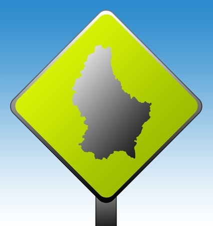 Black silhouetted map of Luxembourg on green diamond shaped road sign with gradient blue sky background. Stock Photo - 7915935