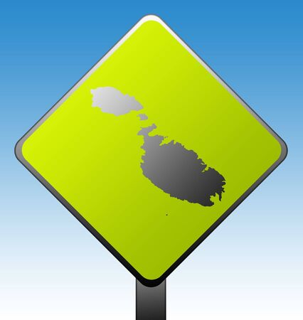 Black silhouetted map of on green diamond shaped road sign with gradient blue sky background. Stock Photo - 7915908