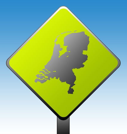 Black silhouetted map of Netherlands on green diamond shaped road sign with gradient blue sky background. Stock Photo - 7915957