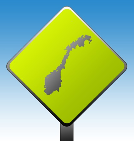 Black silhouetted map of Norway on green diamond shaped road sign with gradient blue sky background. photo