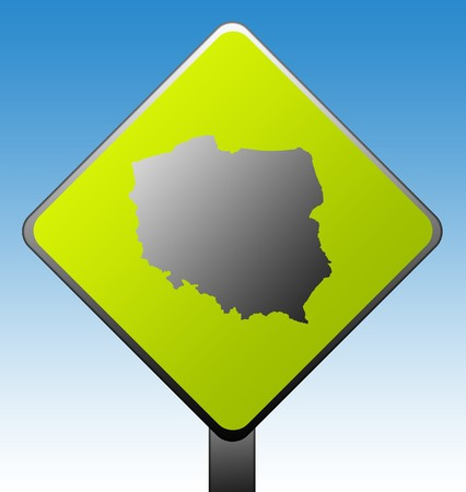 Black silhouetted map of Poland on green diamond shaped road sign with gradient blue sky background. photo