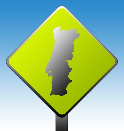 Black silhouetted map of Portugal on green diamond shaped road sign with gradient blue sky background. Stock Photo - 7915909