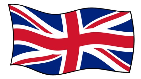 great britain flag: Union Jack flag flying in windy, isolated on white background.