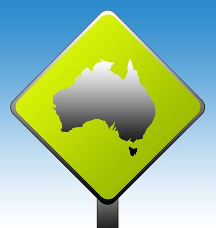 Australia green diamond shaped road sign with gradient blue sky background. photo