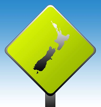 New Zealand green diamond shaped road sign with gradient blue sky background. photo