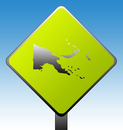 Papa New Guinea green diamond shaped road sign with gradient blue sky background. photo