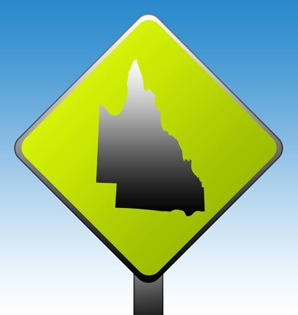 Queensland in Australia green diamond shaped road sign with gradient blue sky background. photo