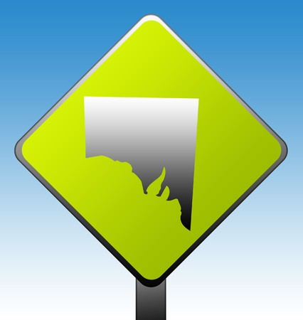 Southern Australia green diamond shaped road sign with gradient blue sky background. photo