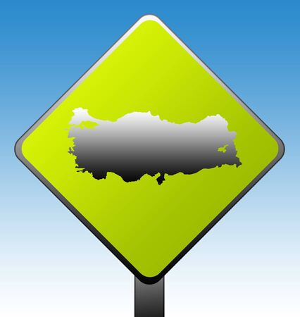 Turkey map green diamond shaped road sign with gradient blue sky background. photo