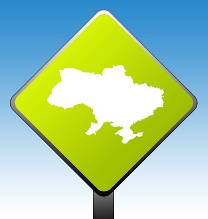 Ukraine map green diamond shaped road sign with gradient blue sky background. photo