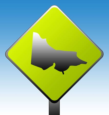 Victoria in Australia green diamond shaped road sign with gradient blue sky background. photo
