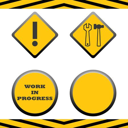 Set of blank under construction signs with copy space, isolated on white background. Stock Photo - 8010028