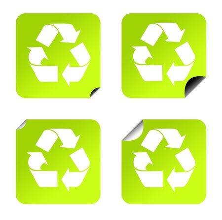 upturned: Green eco recycling stickers or buttons, isolated on white background.