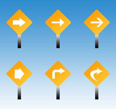 Set of six directional road traffic signs with blue sky background. Stock Photo - 8010017