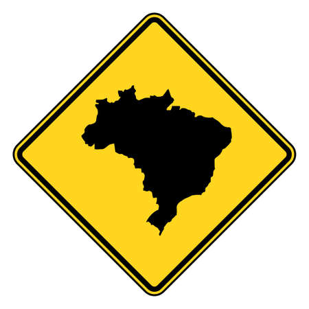 Brazil map road sign in yellow, isolated on white background. Stock Photo - 8110021