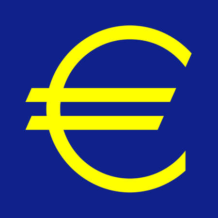 denominational: European currency symbol on blue background in official color.