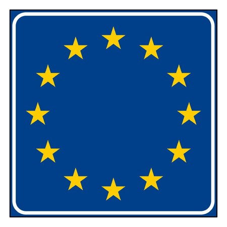 European Union road sign with copy space, isolated on white background. photo