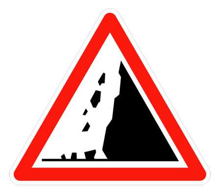 landslide: Falling rocks or landslide warning, isolated on white background.