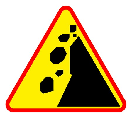 mountainside: Falling rocks or landslide road sign, isolated on white background.