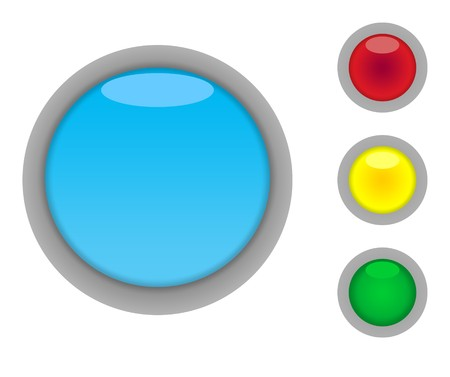 Set of four colorful glossy button icons with light effect isolated on white background with copy space photo