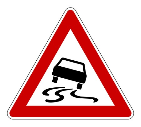 Slippery or hazardous road sign, isolated on white background. Standard-Bild