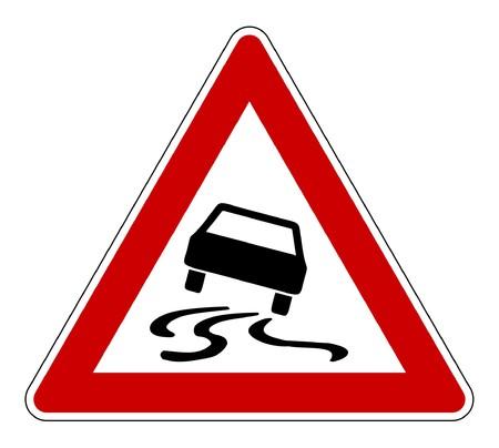 Slippery or hazardous road sign, isolated on white background. Stock Photo