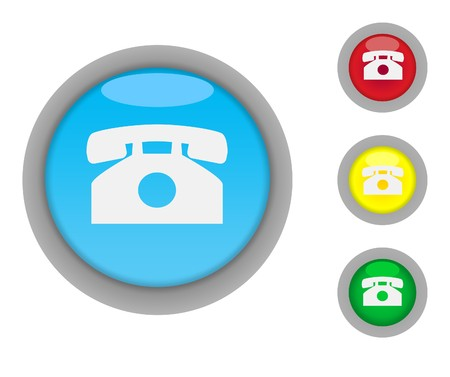 Set of four colorful glossy telephone contact button icons with light effect isolated on white background with copy space photo