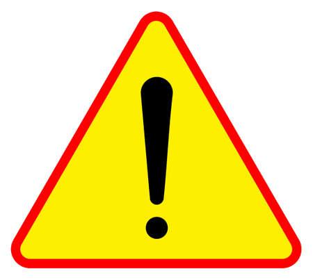 Giallo triangolare segnale di avvertimento, isolato su sfondo bianco. Archivio Fotografico - 8109981