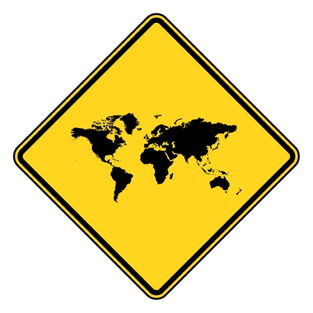 Planet Earth yellow diamond shaped road sign isolated on white background. photo