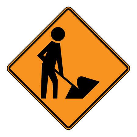 roadworks: Diamond shaped roadworks sign, isolated on white background.
