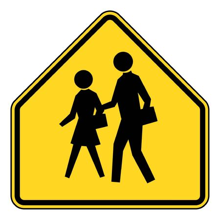 walking zone: School zone or children crossing sign isolated on white background.