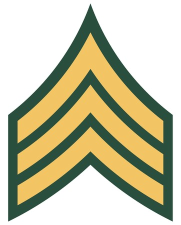 Insignia of American military rank of sergeant, isolated on white background. Stock Photo - 8191447