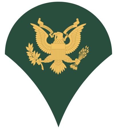 especialistas: Rango militar de Estados Unidos de Am�rica de la insignia de especialista, aislado sobre fondo blanco. Foto de archivo