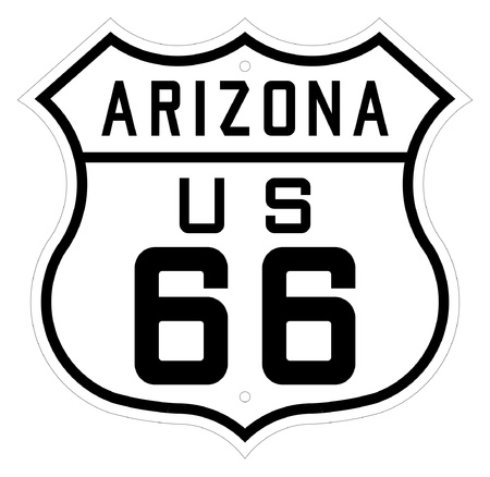 Highway or route 66 road sign, Arizona, America. Isolated on white background.