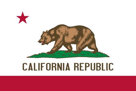 republic: California state flag of America, isolated on white background.