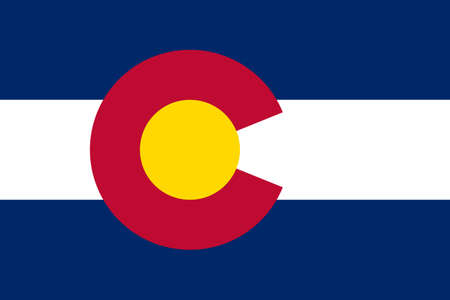 Colorado state flag of America, isolated on white background.  photo