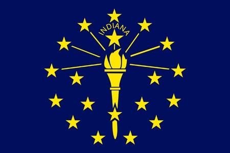 Indiana state flag of America, isolated on white background. photo