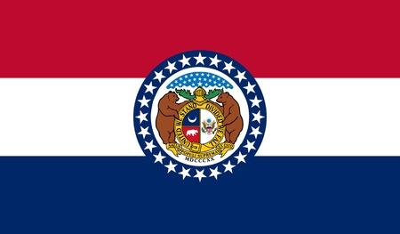 Missouri state flag of America, isolated on white background. photo